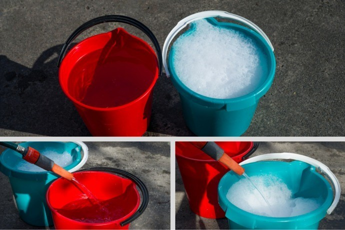 Use Two Buckets – One for Soapy Water and One for Rinsing