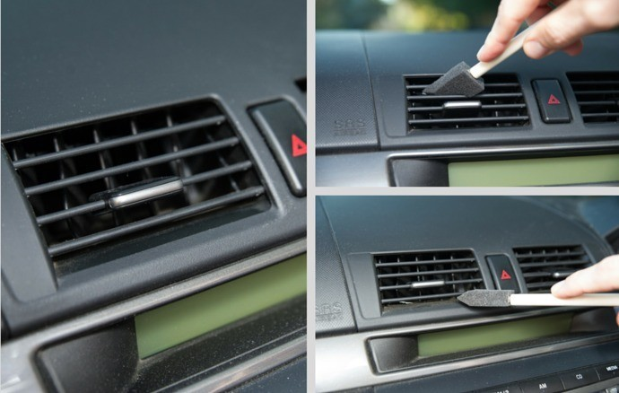 Dust A/C Vents with a Foam Craft Brush