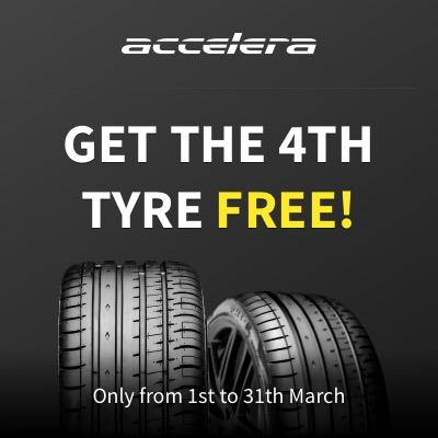 Tyre Deal Buy 3 get 4 on ACCELERA tyres
