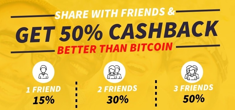 Share with friends and get 50% cashback